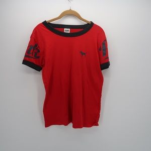 PINK Victoria's Secret RED Black Short Sleeve Top